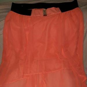Orange asymetrical skirt